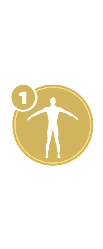 Gold circle with white full body icon and number 1 representing Full Body Level 1 certification.