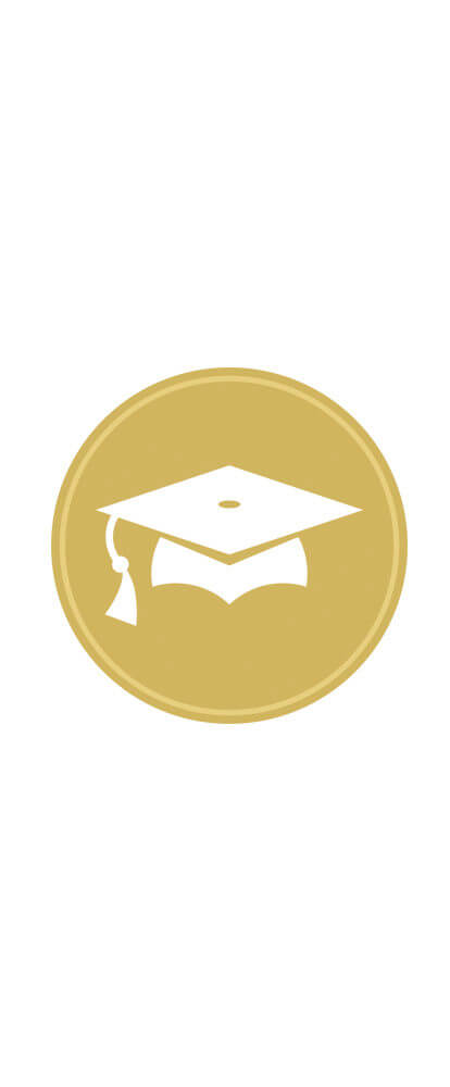 Masters ART badge. Gold circle with white graduation hat icon.