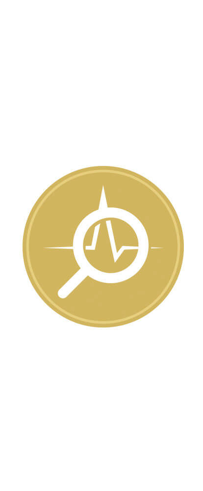 Certification badge for Active Diagnosis. Goal circle with magnifying glass icon and EKG icon in white.