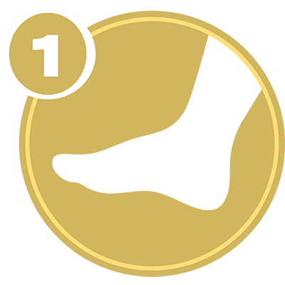 Gold circle with white foot icon and number 1 representing Lower Extremity Level 1 certification.