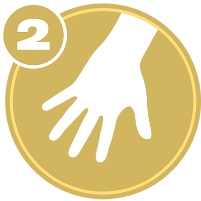 Gold circle with white hand icon and number 2 representing Upper Extremity Level 2 certification.