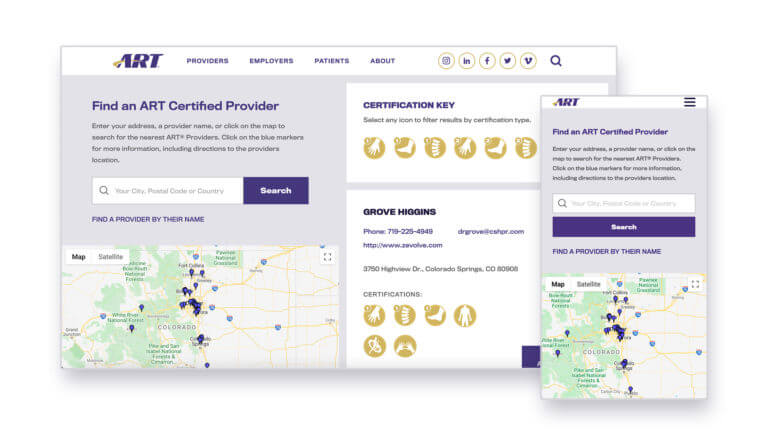 Desktop and mobile view of the provider locater. Gray background with a map and list of providers.
