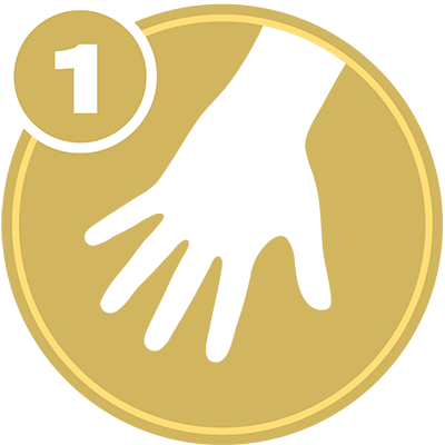 Gold circle with white hand icon and number 1 representing Upper Extremity Level 1 certification.